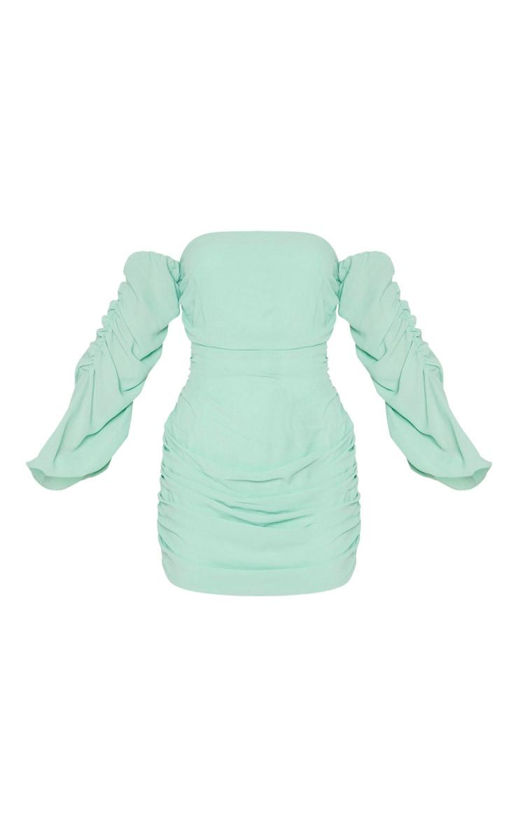 Sage Green Ruched Chiffon Bodycon Dress 5