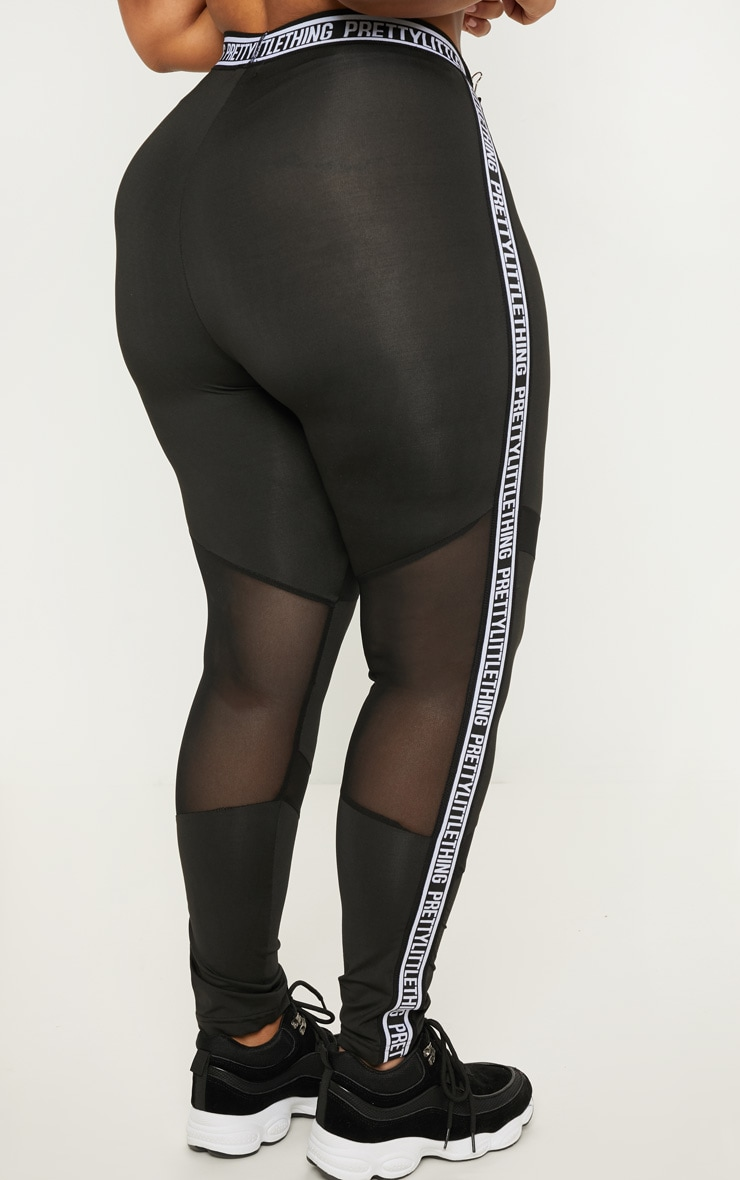 PRETTYLITTLETHING Plus Black Brand Legging 4