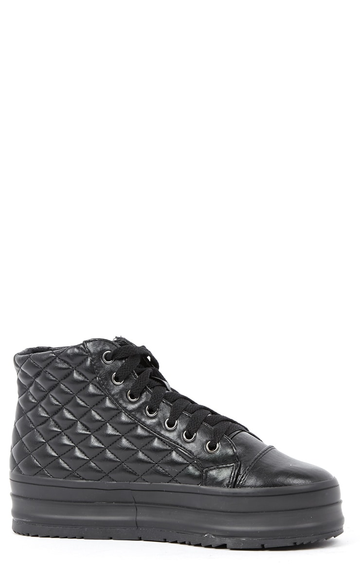 Naomi Black Quilted Leather Plimsolls 3