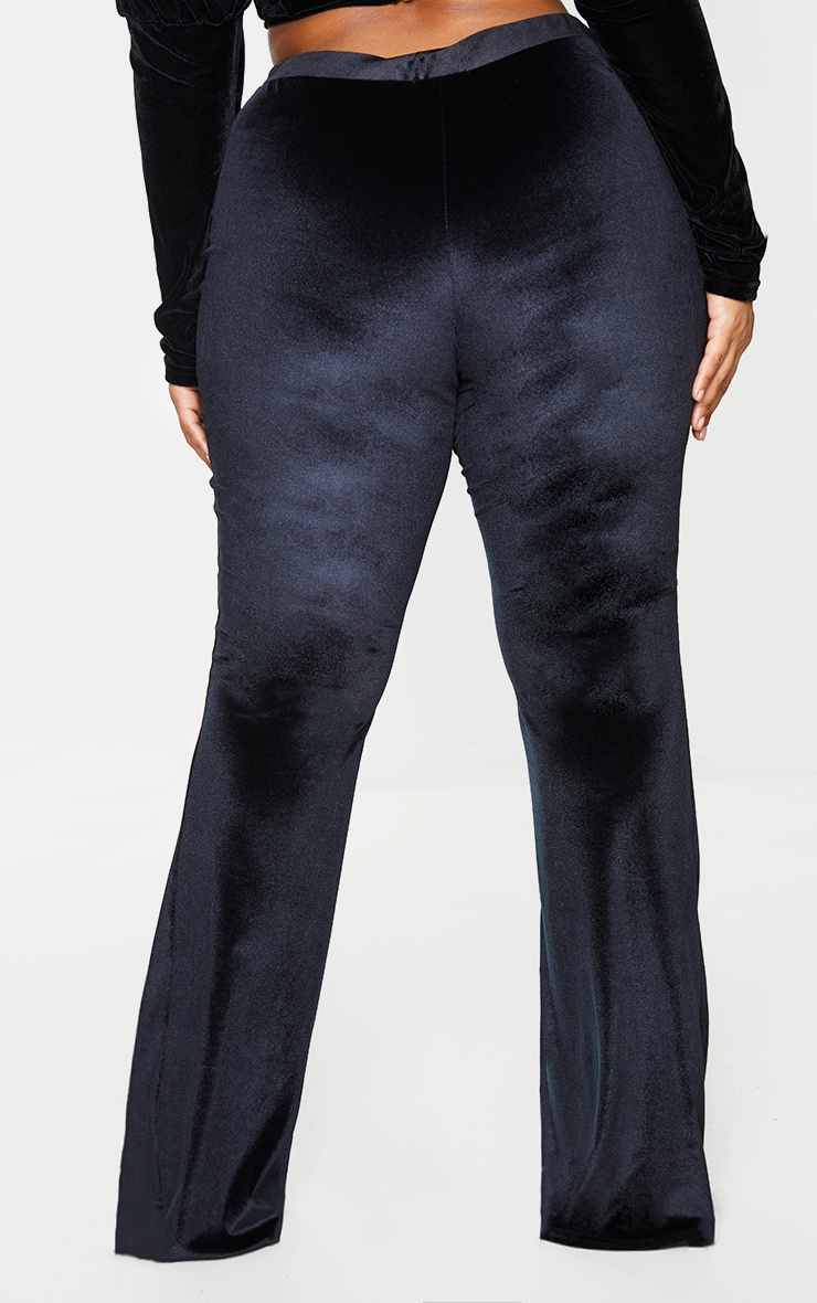 Plus Black Velvet Flared Pants 3