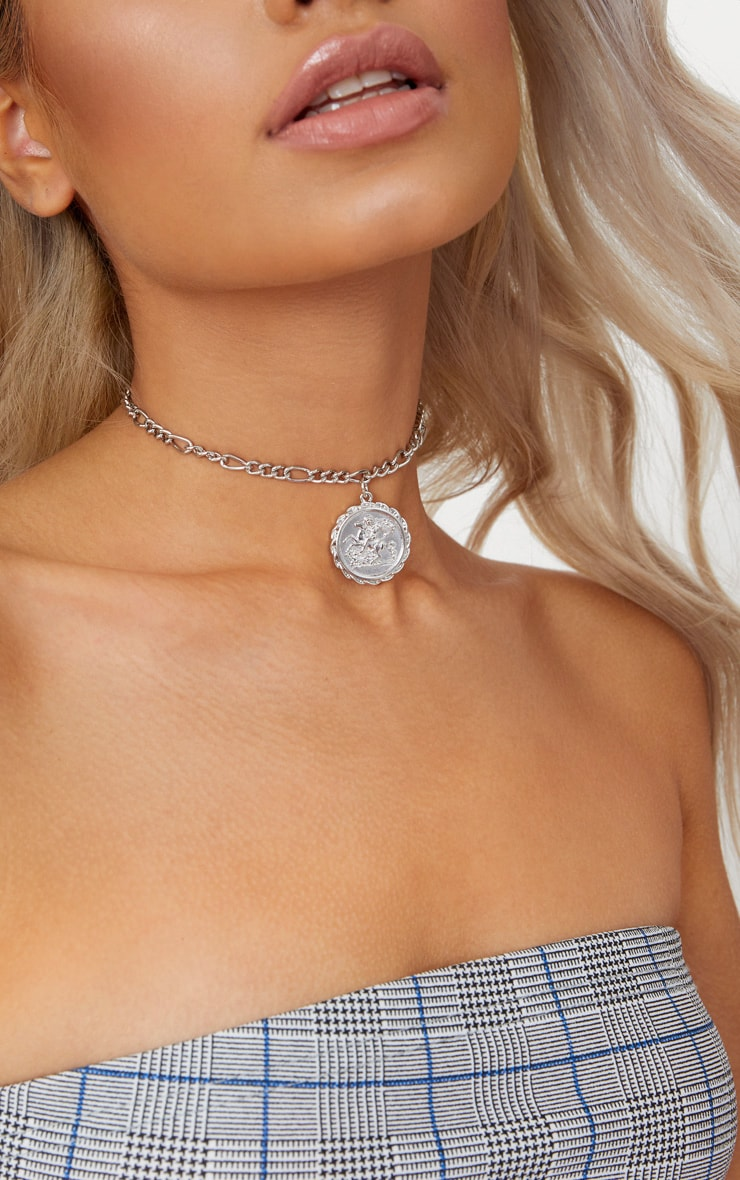 Silver Coin Pendant Chain Choker 2