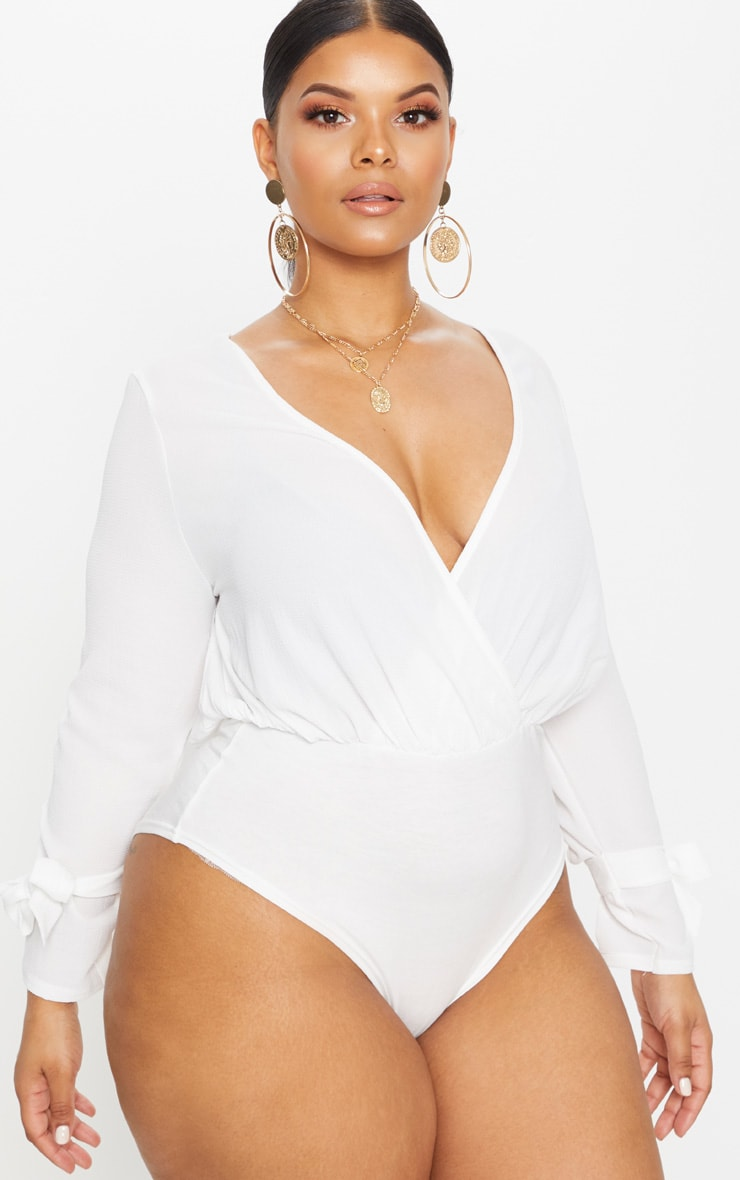 Plus White Chiffon Plunge Long Sleeve Thong Bodysuit 2