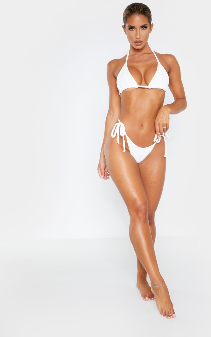 Cream Soft Crinkle Triangle Bikini Top 4