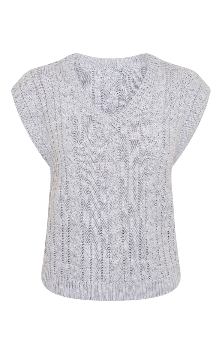 Grey Cable Knitted Vest 5