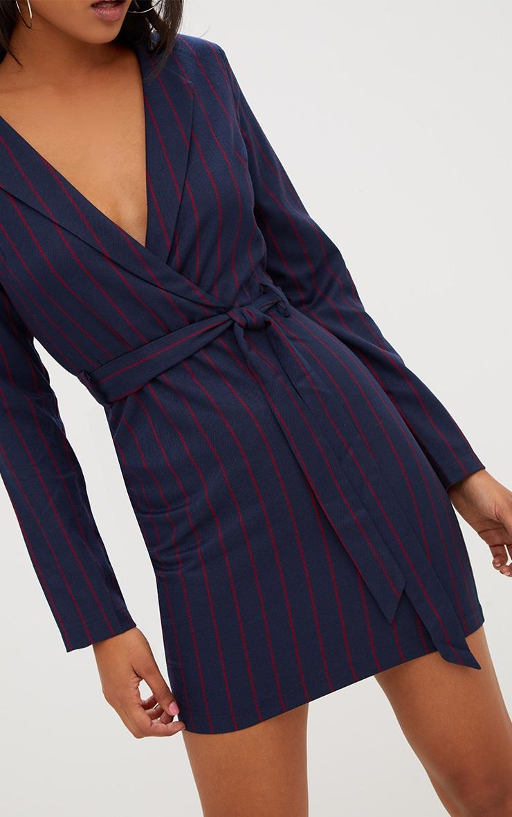 Navy Tie Waist Striped Blazer Dress 5