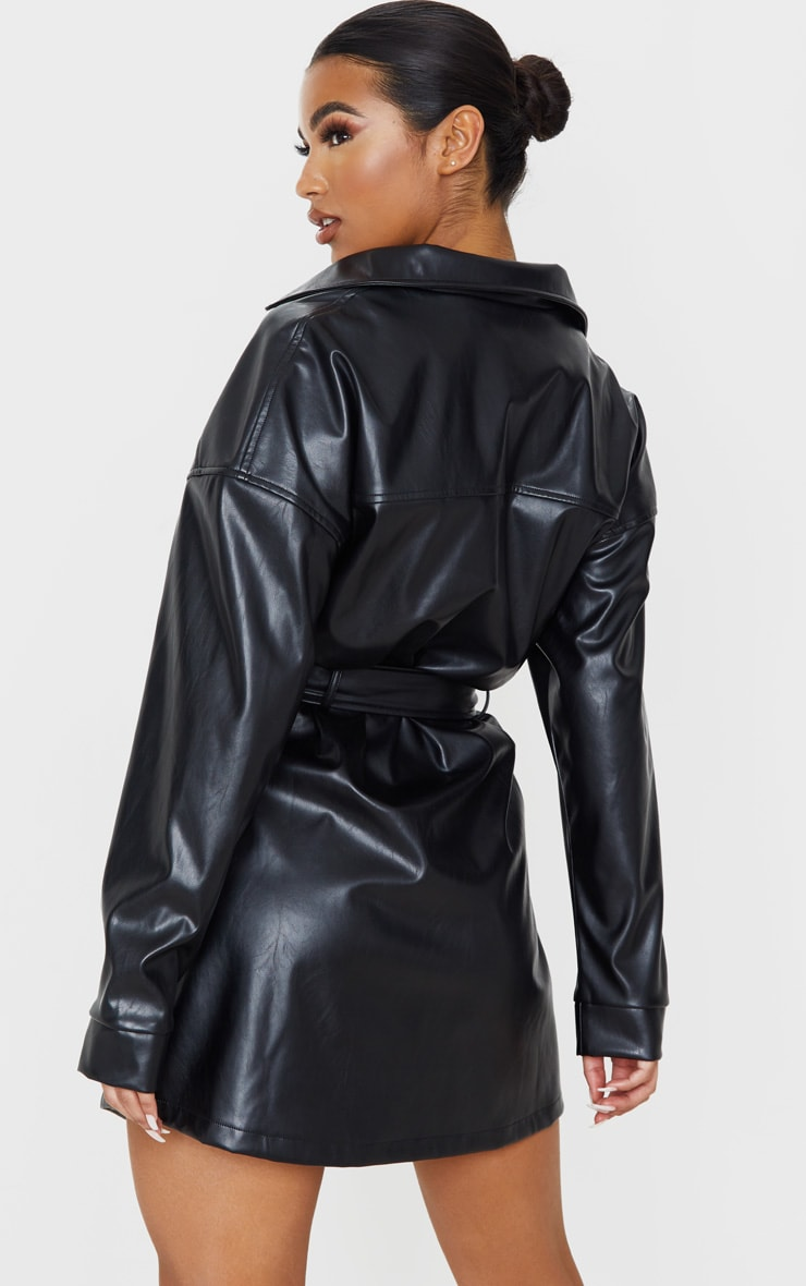 Black Faux Leather Zip Front Belted Long Sleeve Shirt Dress 2