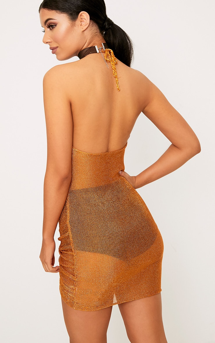 Makina Rust Ruched  Metallic Knit Mini Dress 2