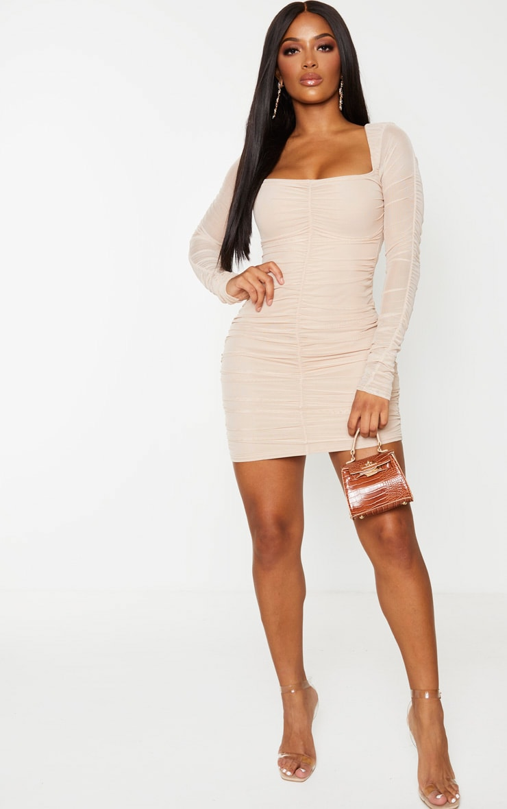 Shape Nude Mesh Square Neck Ruched Bodycon Dress 3