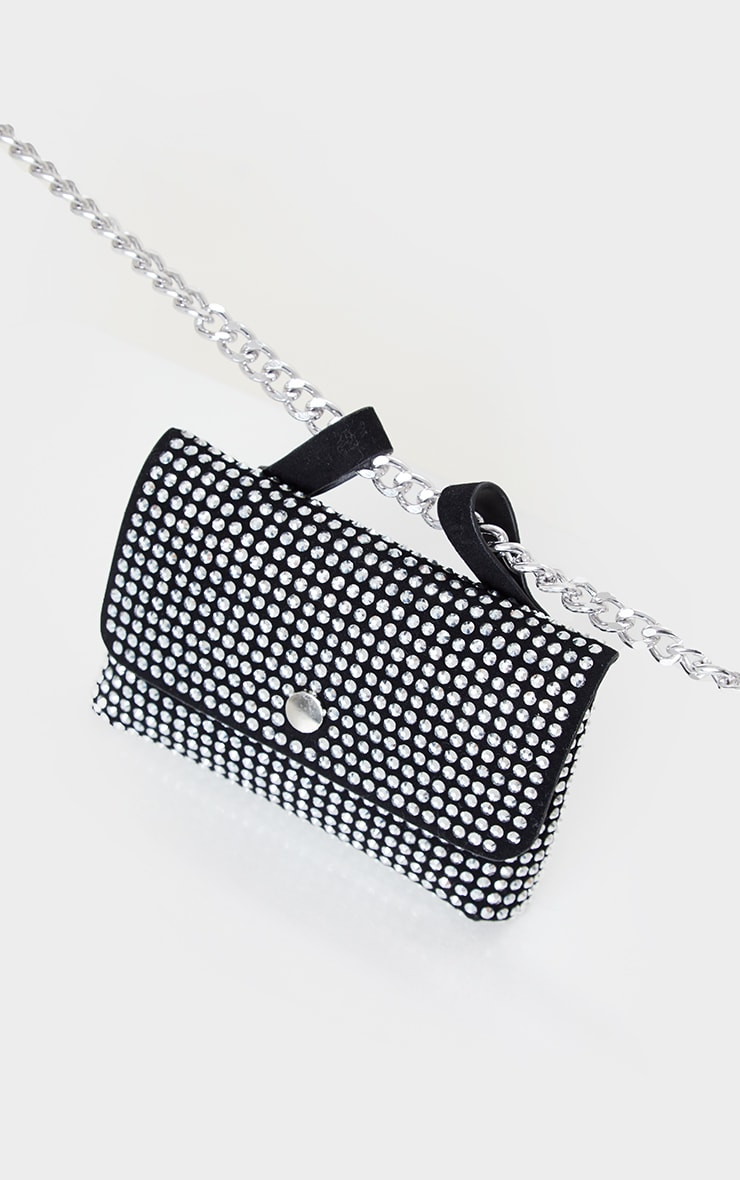 Black Diamante Envelope Belt Bag 3