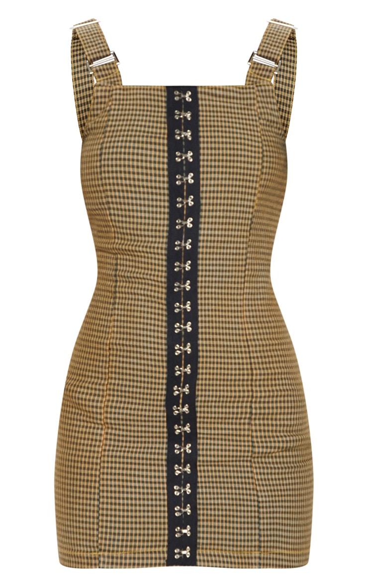 Check Square Neck Hook Detail Denim Dress 3