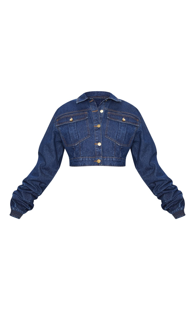 Mid Wash Oversized Cropped Denim Jacket 3