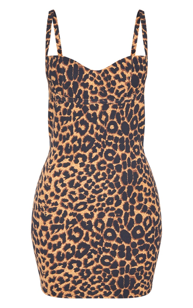 Leopard Print Strappy Cup Detail Bodycon Dress 3