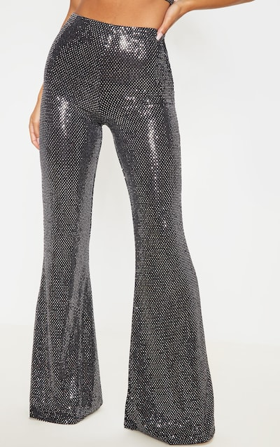 Silver Sequin High Waisted Flared Trouser
