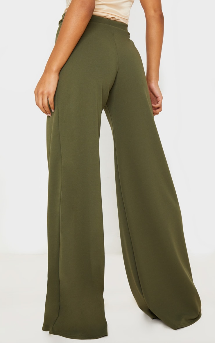 Khaki D Ring Belted Wide Leg Trousers 5