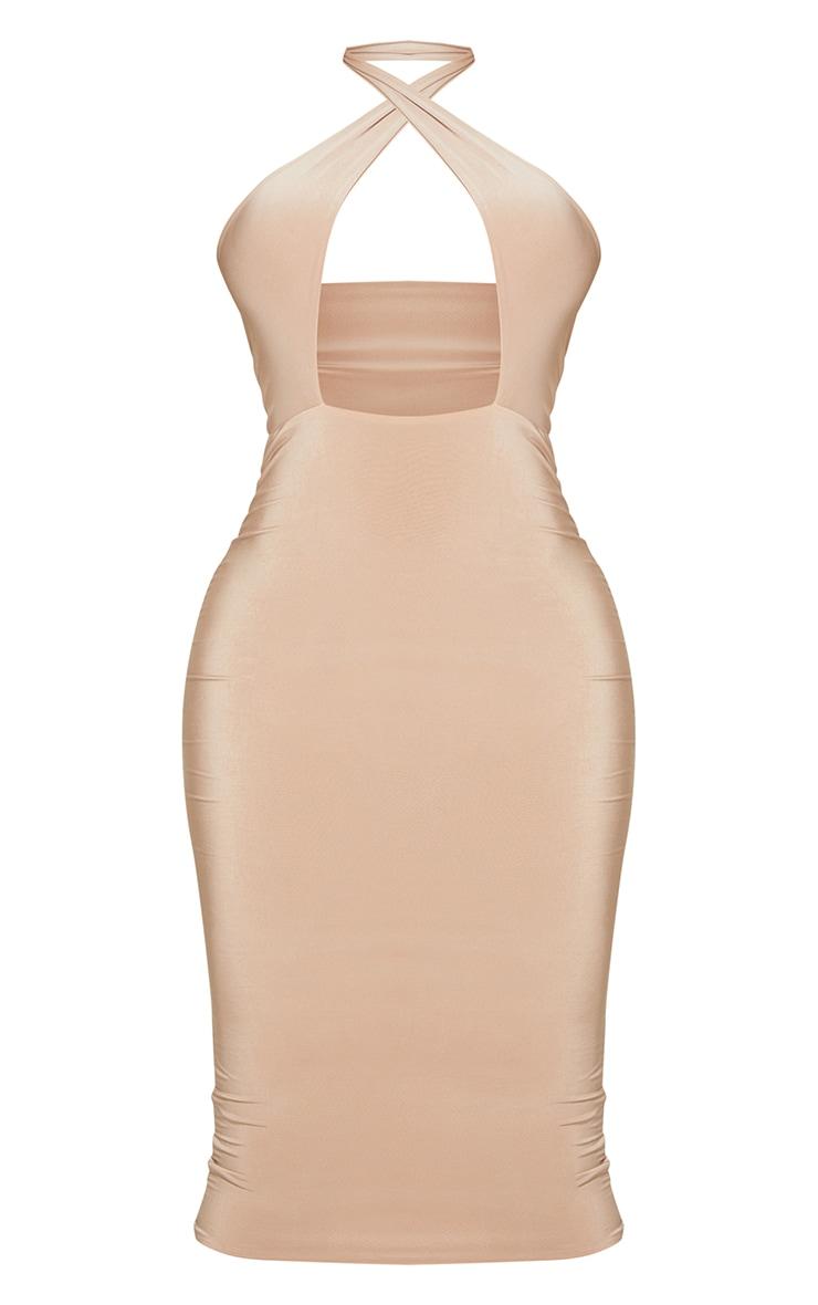 Shape Soft Brown Slinky Cross Neck Midi Dress 5