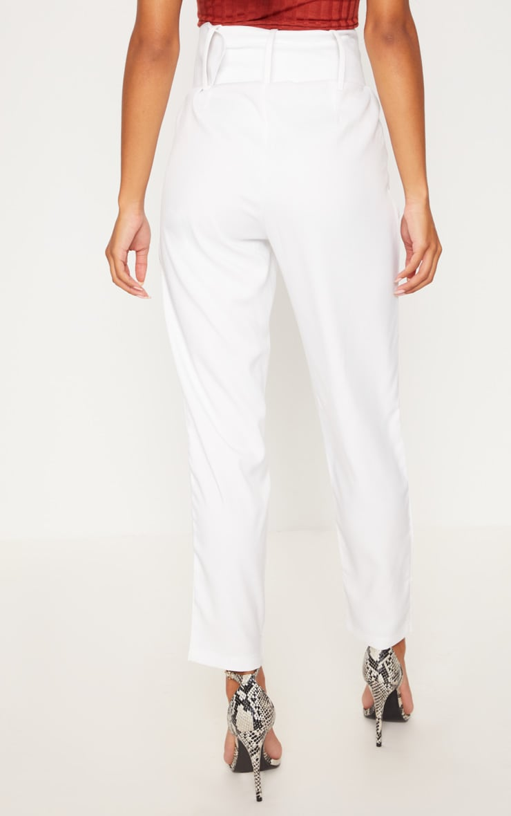 Cream Super High Waisted Belted Tapered Pants 4