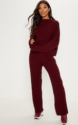 Burgundy Ribbed Knitted Oversized Jumper image 4 149f4bc84