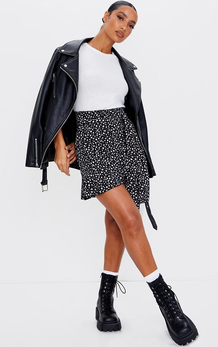 Black Dalmatian Print Tie Detail Frill Edge Wrap Mini Skirt 1