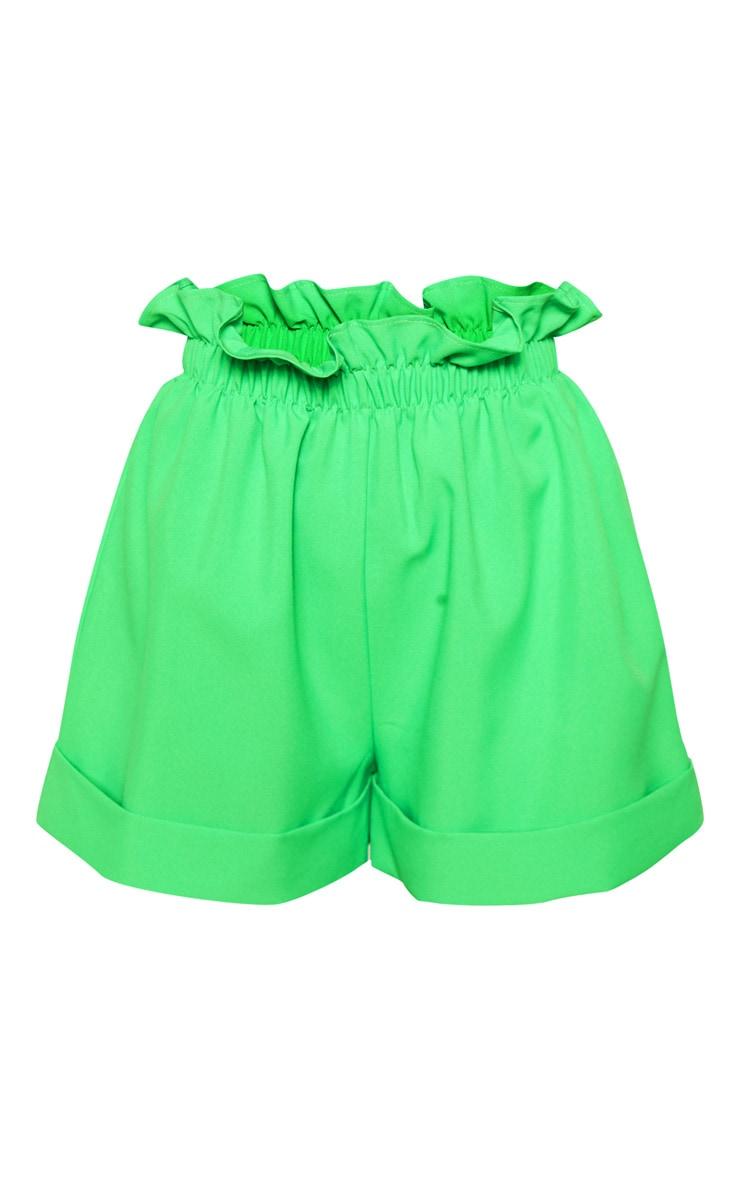 Neon Green Woven Turn Up Hem Short 3