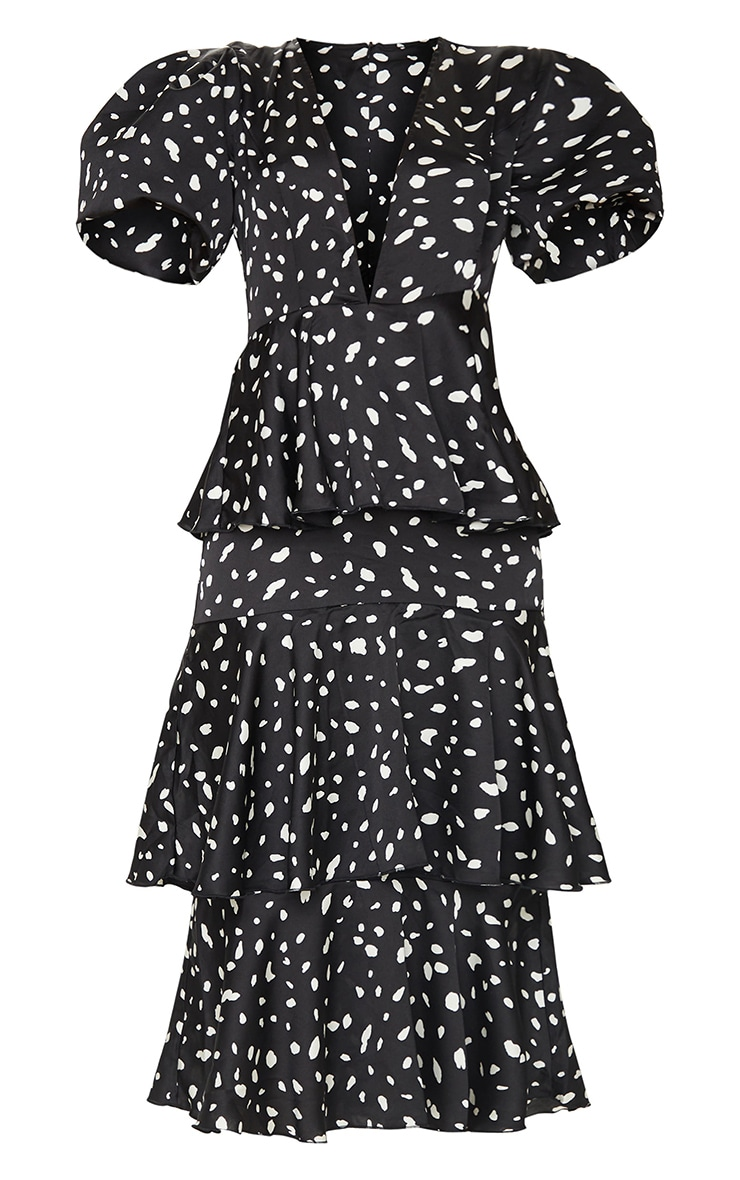 Black Dalmatian Print Plunge Puff Sleeve Tiered Maxi Dress 5