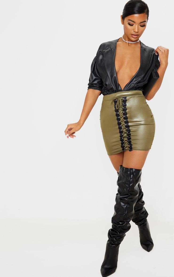 Khaki Coated Lace Up Detail Mini Skirt 6