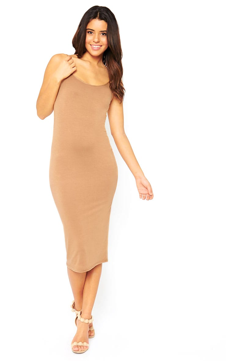 Basic Camel Midi Vest Dress 3