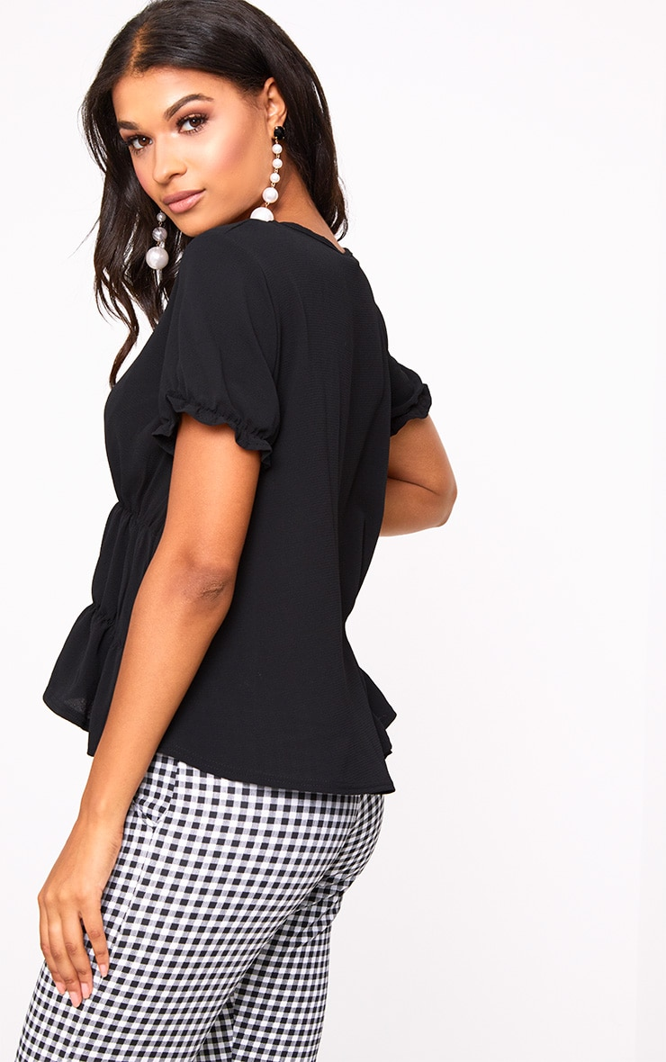 Black Ruched Crew Neck Blouse 2