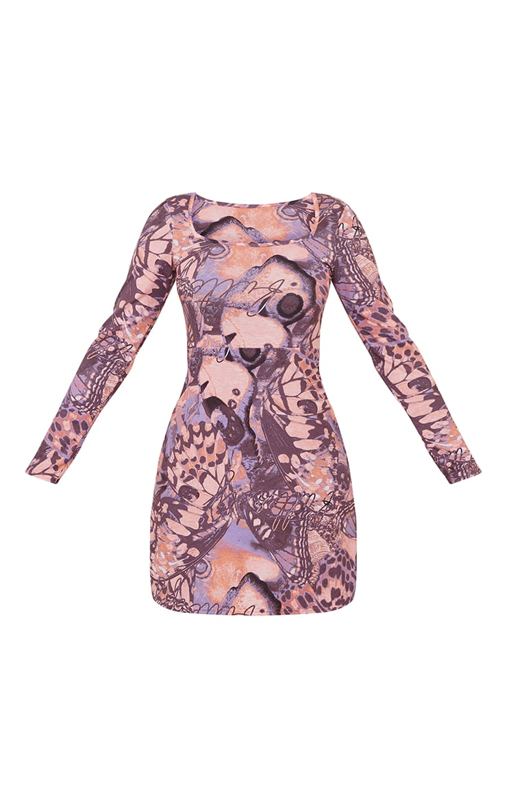 Purple Butterfly Print Long Sleeve Square Neck Shift Dress 5