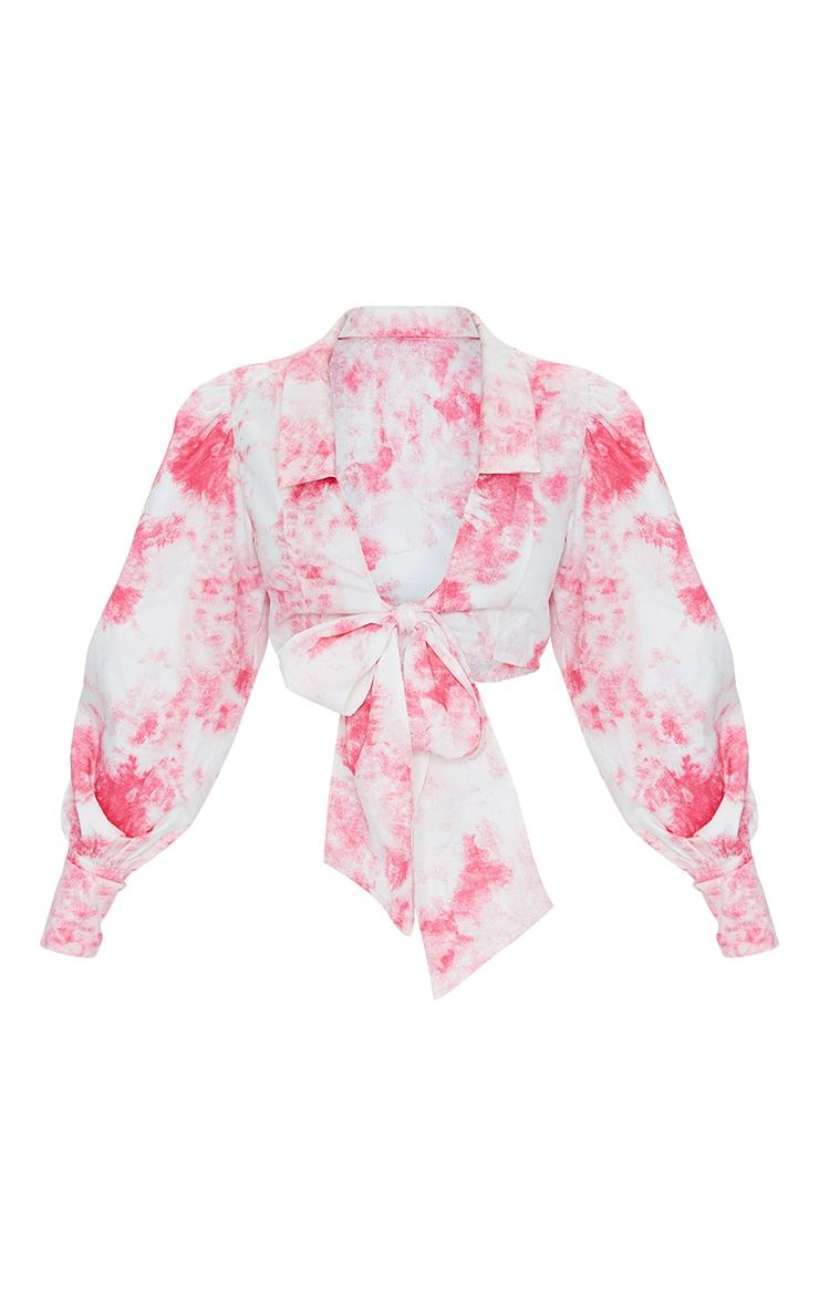 Petite Pink Tie Dye Bow Detail Blouse 1