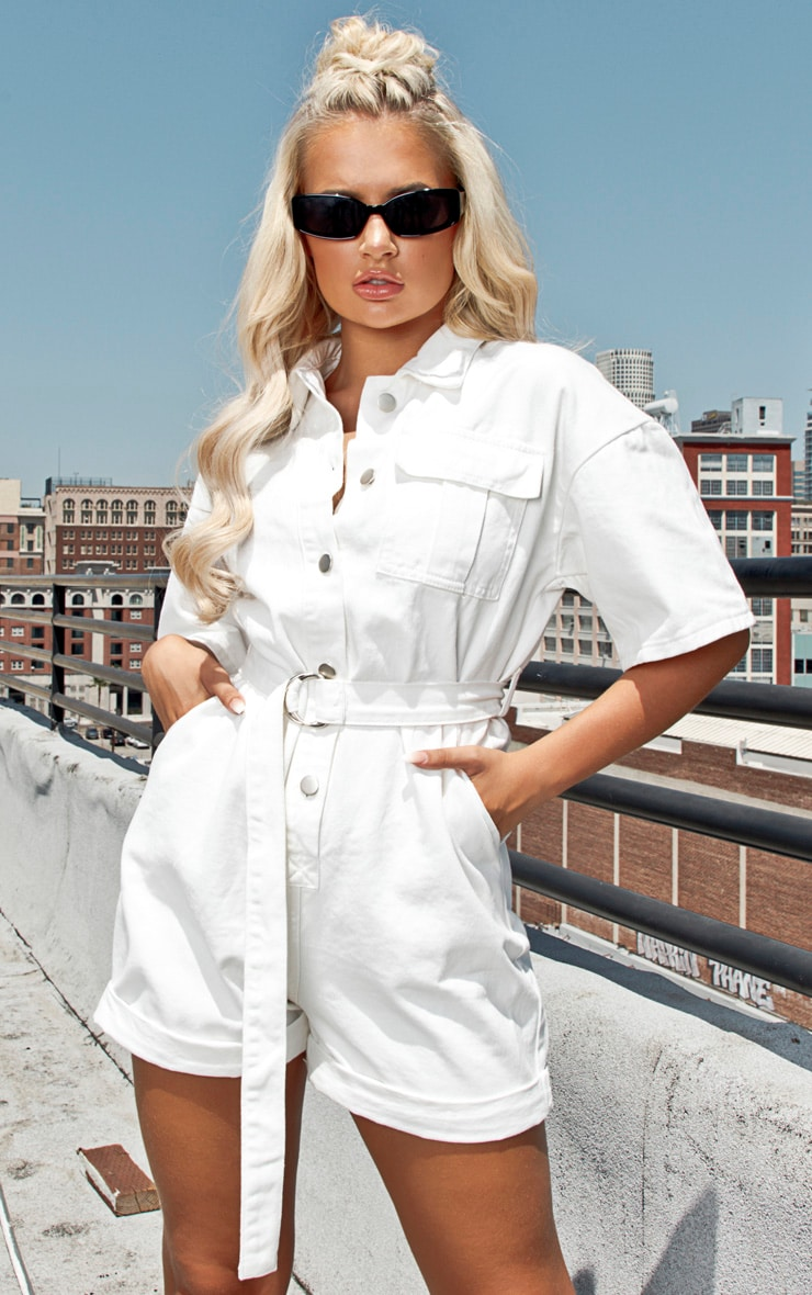 White Shorts Denim Playsuit 1