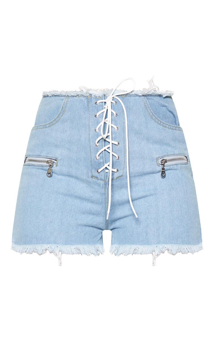 Light Wash Lace Up Front Denim Shorts 3