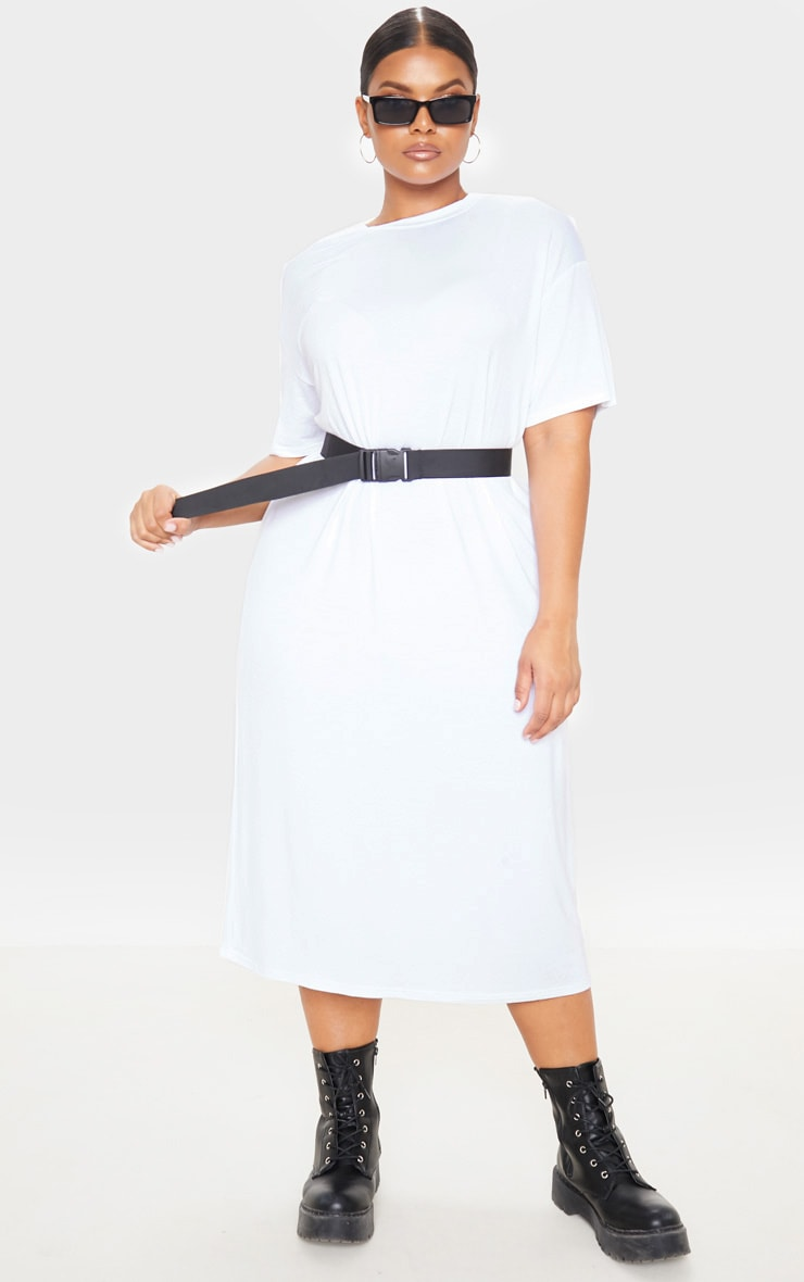 Plus White Oversized Boxy Midi T Shirt Dress 1