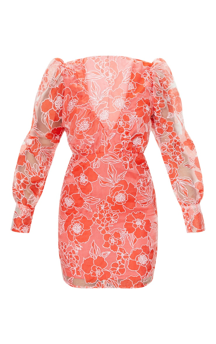 Red Floral Lace Puff Sleeve Bodycon Dress 5