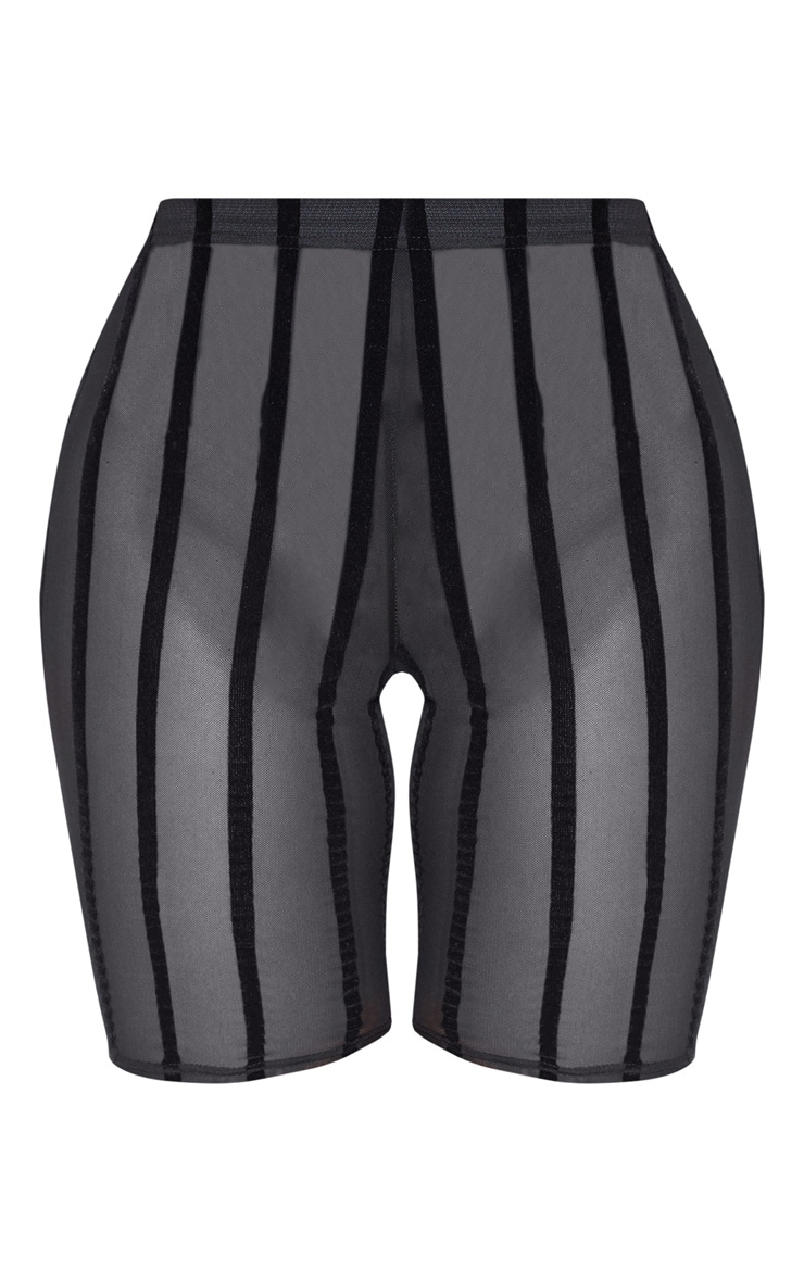 Black Mesh Striped Cycle Short  3