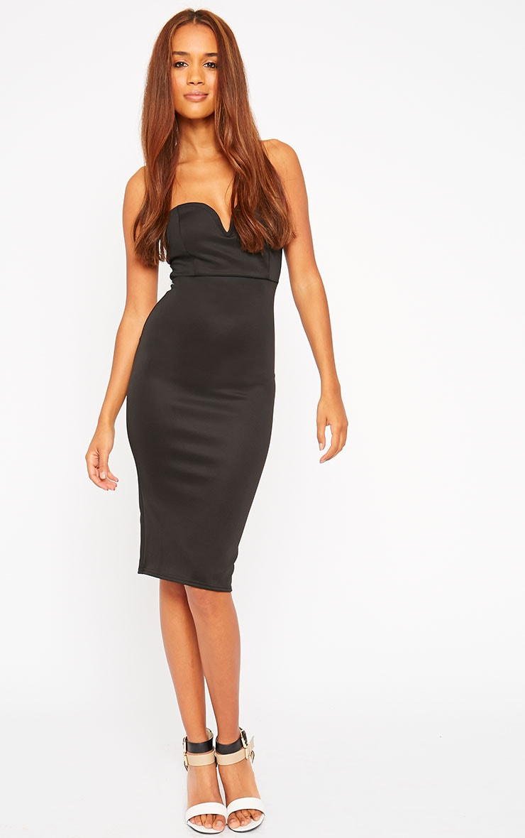 Zenda Black Bandeau Midi Dress 3