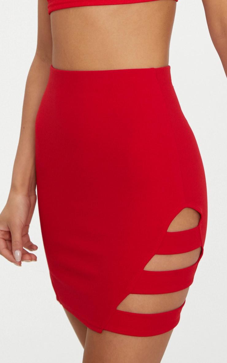 Red Crepe Ladder Mini Skirt 6