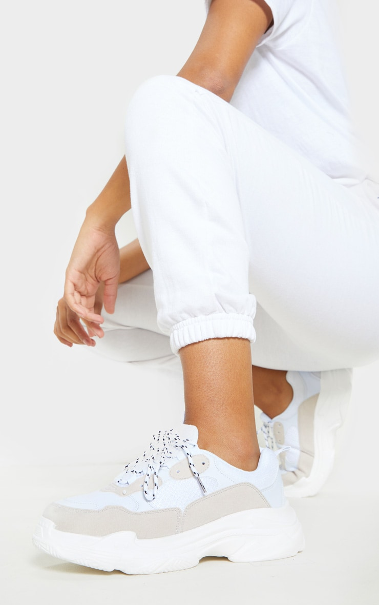 White Lace Up Chunky Trainer 1