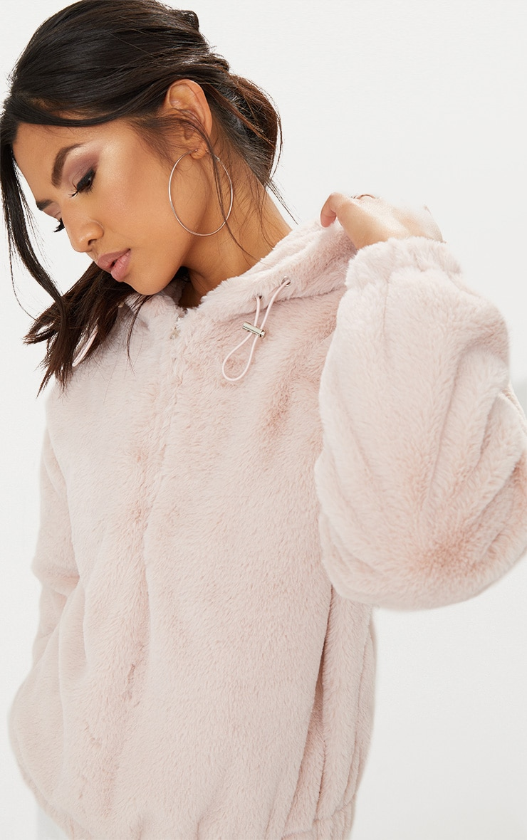 Pink Faux Fur Hooded Bomber 1