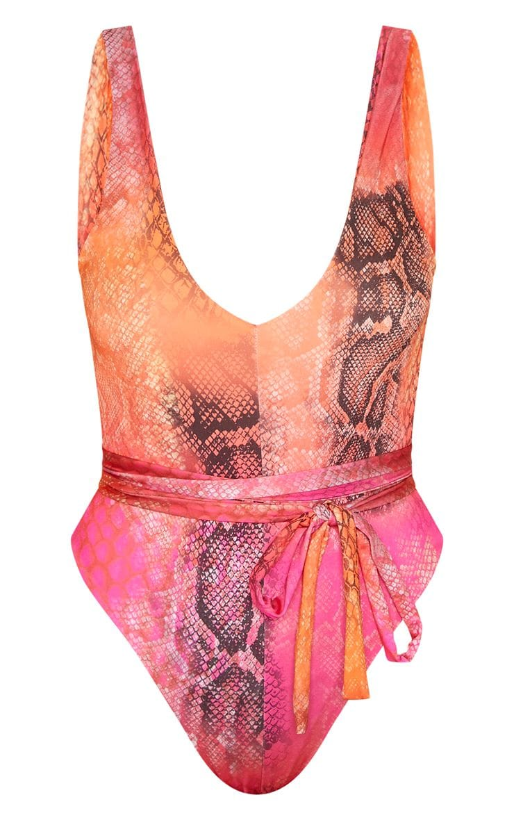Pink Reptile Tie Waist Swimsuit 1