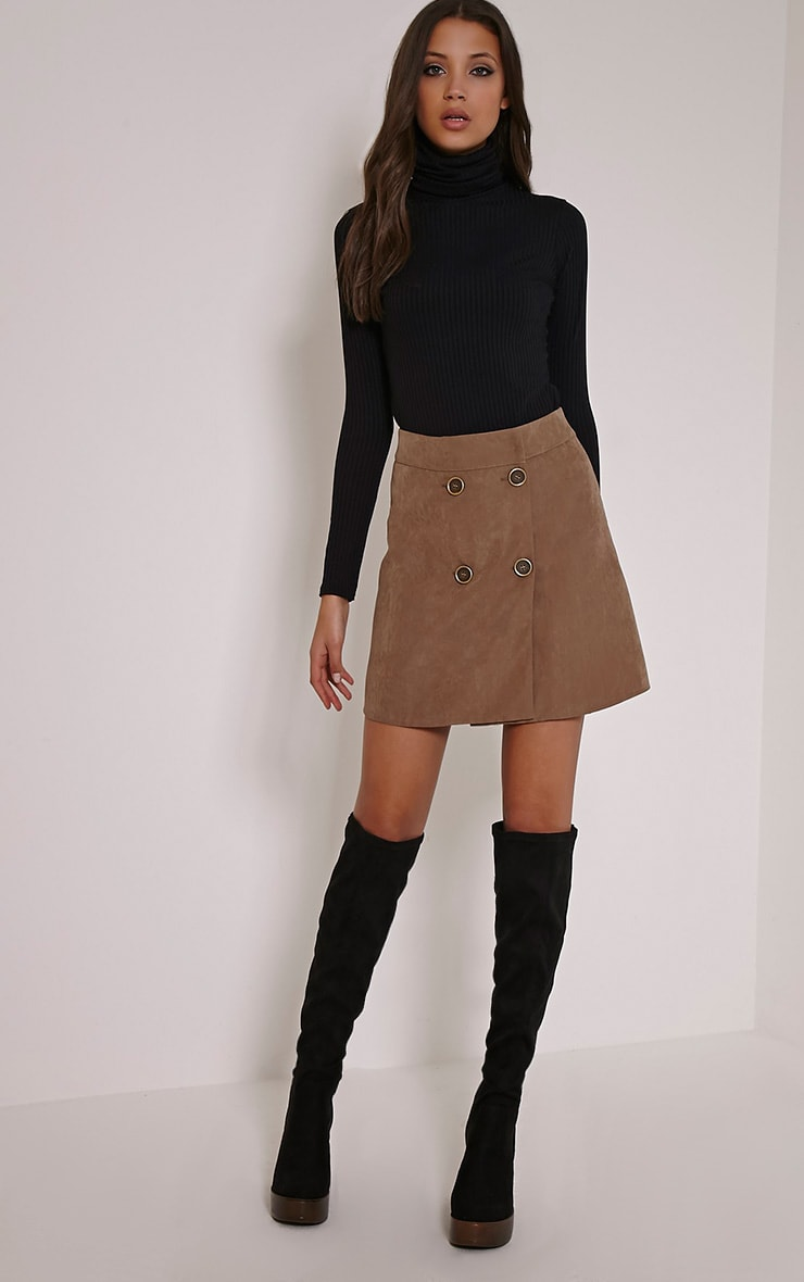 May Tan Double Button Mini Skirt 5
