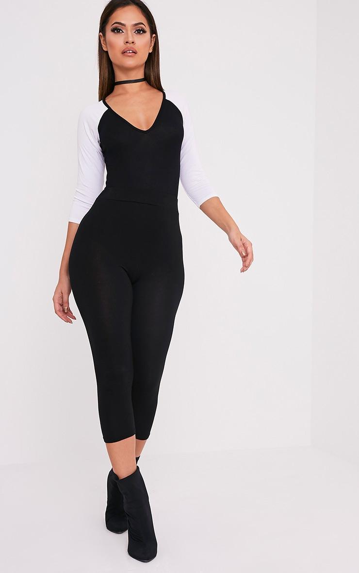 Basic body-string noir à manches contrastées en jersey 6