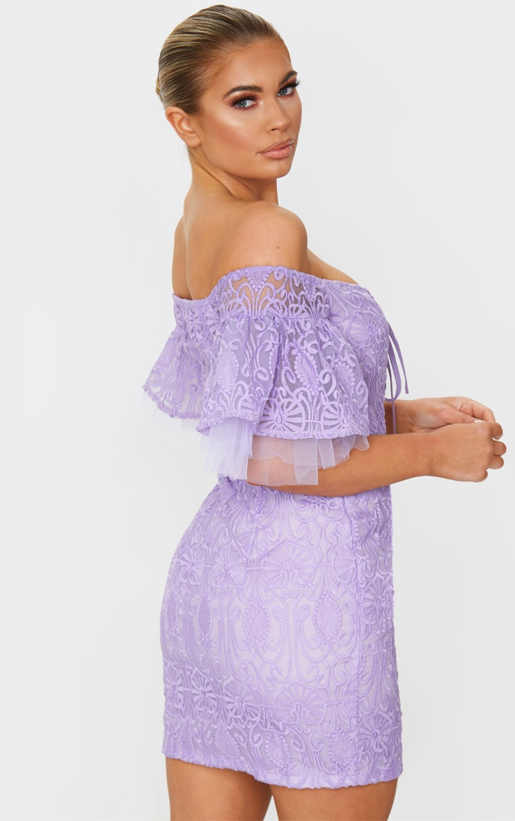 Lilac Embroidered Frill Sleeve Lace Up Bodycon Dress 2
