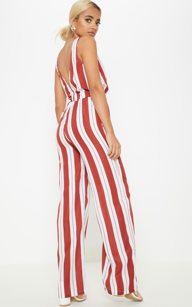 Petite Rust Striped Buckle Belt Detail Jumpsuit 2