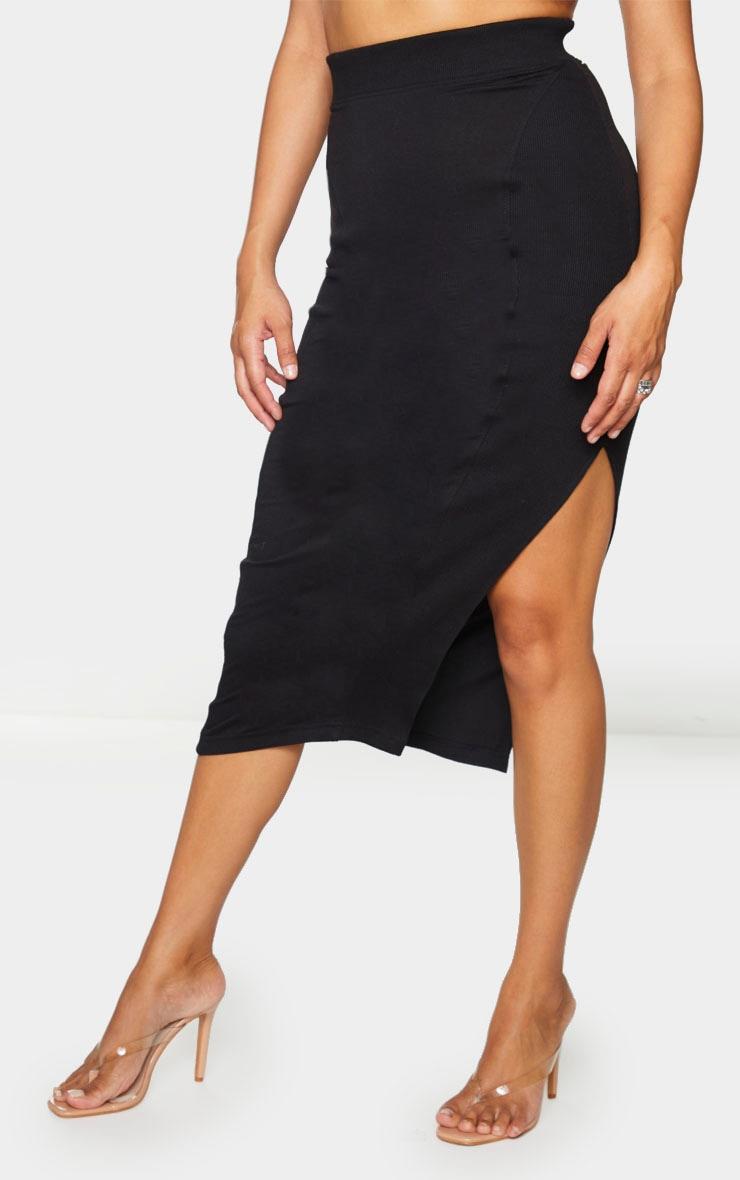 Black Thick Rib Split Side Midaxi Skirt 2