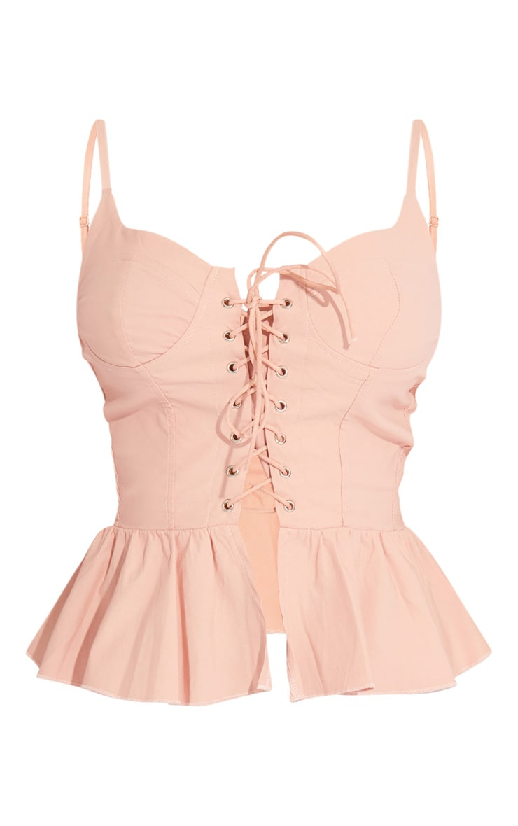 Blush Lace Up Corset Strappy Top 5