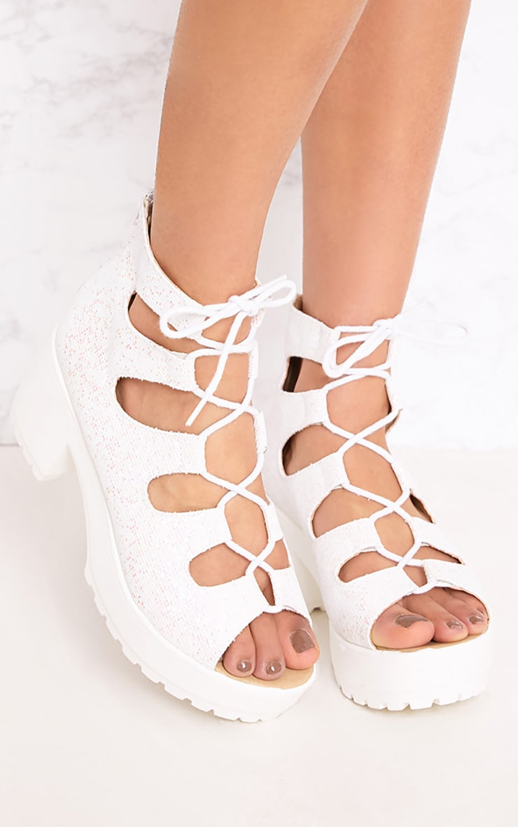 Caprice White Metallic Lace Up Sandals 1