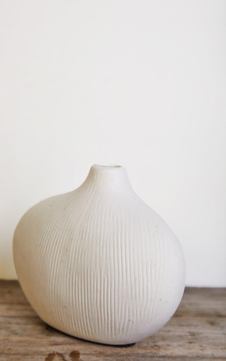 White Asymmetric Rounded Small Vase 4