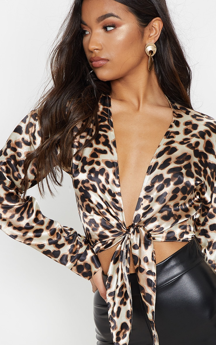 Brown Leopard Print Tie Blouse 5