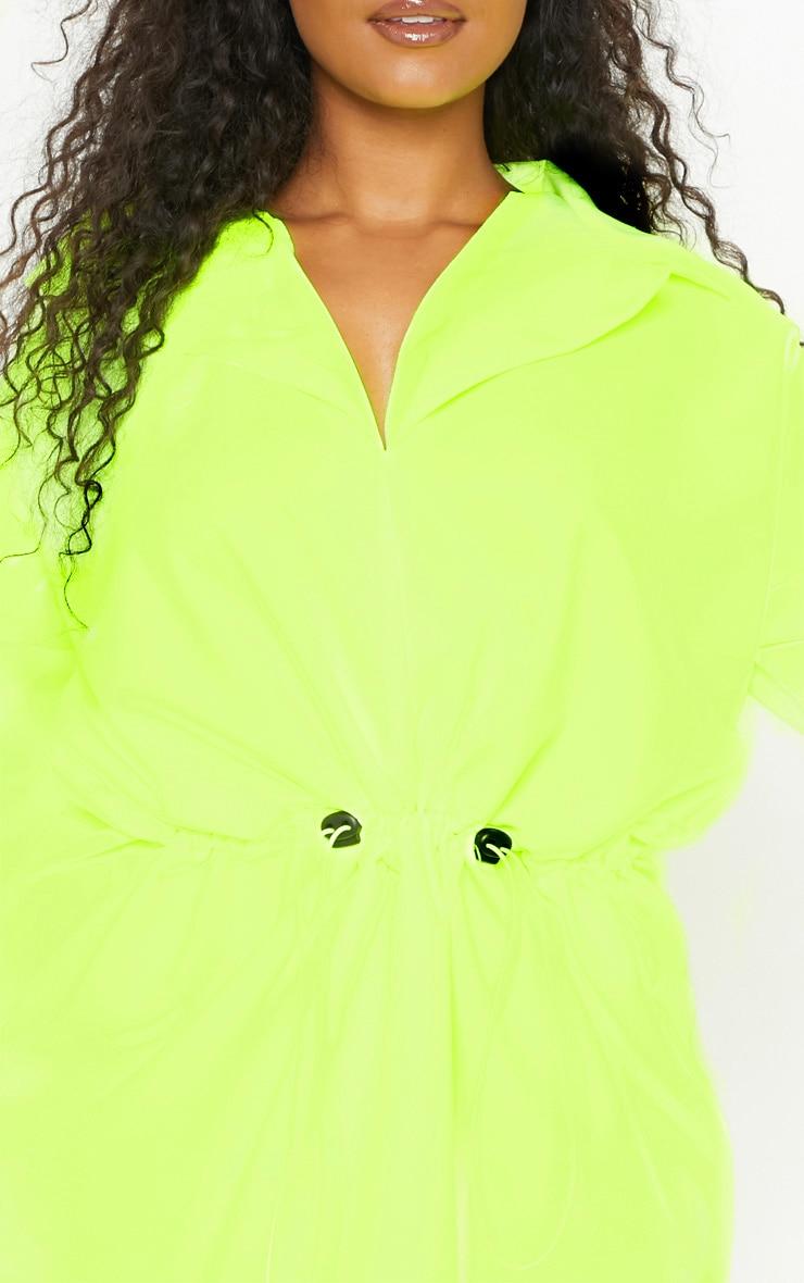 Plus Neon Lime Toggle Waist Shift Dress 5