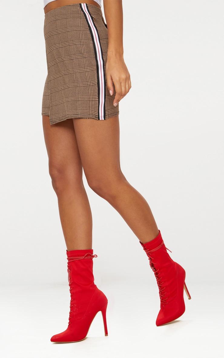 Taupe Check Wrap Panel Side Stripe Skirt 2